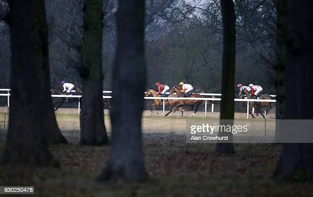 A general view as runners turn out of the back staright at Chelmsford racecourse on December 19 2016 in Chelmsford England