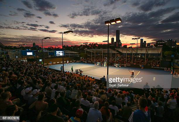A general view as Sam Groth of Australia plays in his first round match against Steve Darcis of Belgium on day one of the 2017 Australian Open at...