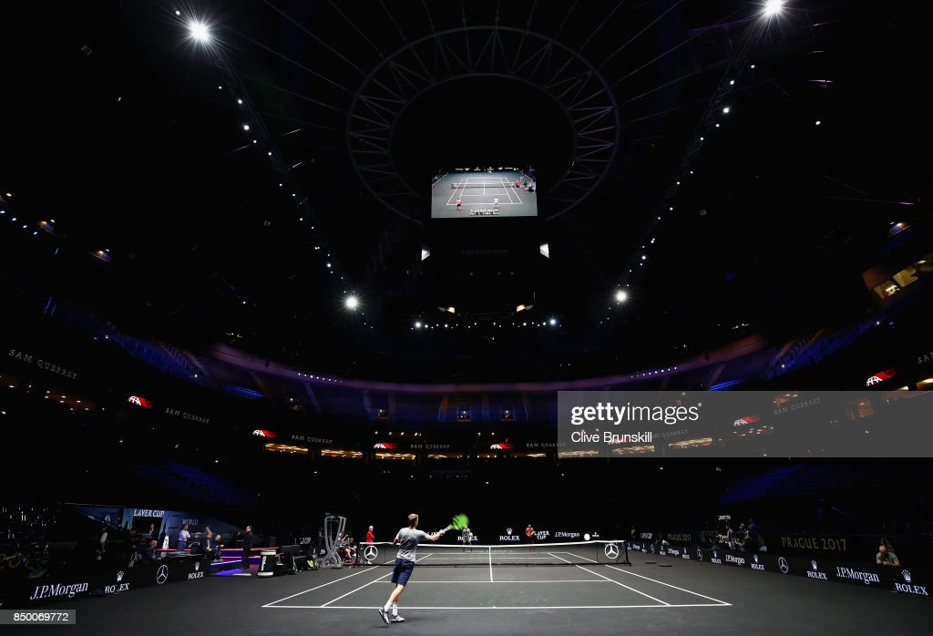 A general view as Sam Querry returns the ball during a training session ahead of the Laver Cup on September 20, 2017 in Prague, Czech Republic. The Laver Cup consists of six European players competing against their counterparts from the rest of the World. Europe will be captained by Bjorn Borg and John McEnroe will captain the Rest of the World team. The event runs from 22-24 September.