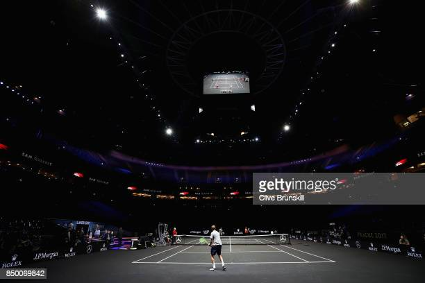 A general view as Sam Querry returns the ball during a training session ahead of the Laver Cup on September 20 2017 in Prague Czech Republic The...
