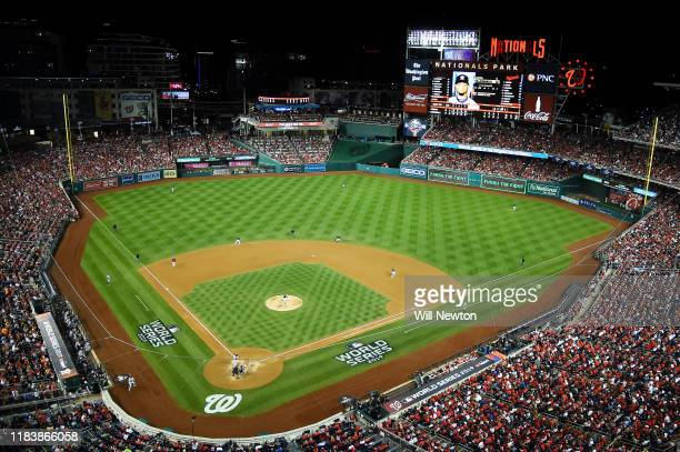 General view as Sean Doolittle of the Washington Nationals delivers the pitch to Martin Maldonado of the Houston Astros during the seventh inning in...