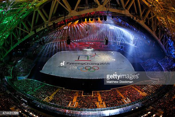A general view as 'See You In PyeongChang' is projected during the 2014 Sochi Winter Olympics Closing Ceremony at Fisht Olympic Stadium on February...