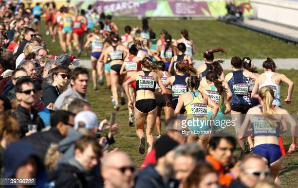 General view as senior womens athletes compete during the IAAF World Athletics Cross Country Championships on March 30, 2019 in Aarhus, Denmark.