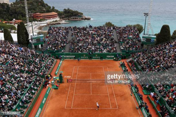 General view as Serbia's Dusan Lajovic serves the ball to Italy's Fabio Fognini during their final tennis match of the Monte-Carlo ATP Masters Series...