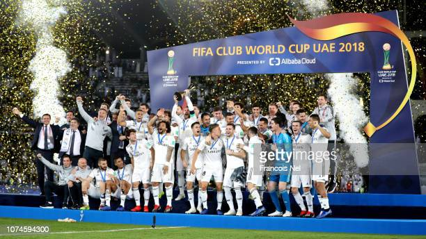 General view as Sergio Ramos of Real Madrid lifts the FIFA Club World Cup Trophy following the FIFA Club World Cup UAE 2018 Final between Al Ain and...