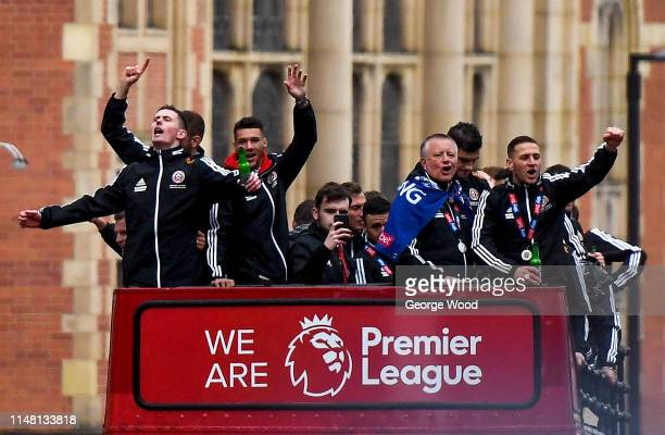General view as Sheffield United players parade through the streets of Sheffield after finishing second in the Sky Bet Championship to gain promotion...