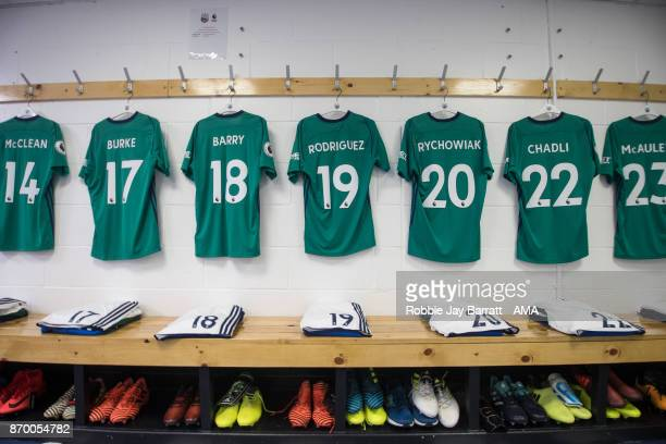 General view as shirts of West Bromwich Albion players hang in the dressing room prior to kick off during the Premier League match between...