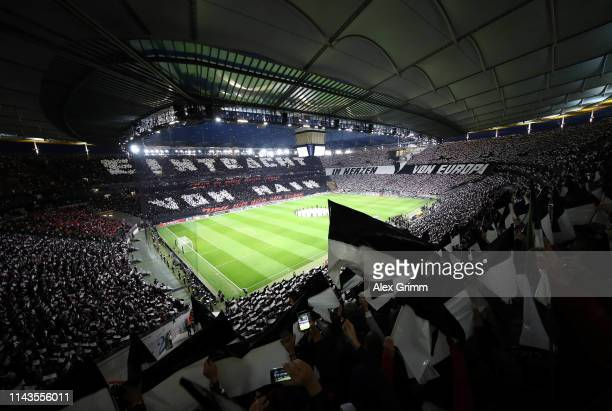 General view as show their support during the UEFA Europa League Quarter Final Second Leg match between Eintracht Frankfurt and Benfica at...