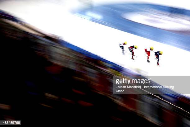 A general view as skaters compete in the Men's 1500m quarterfinals on day two of the ISU World Cup Short Track Speed Skating on February 15 2015 in...