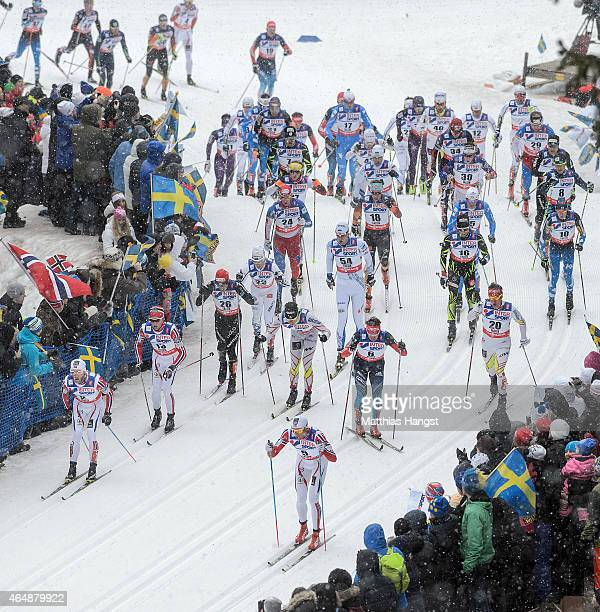 A general view as skiers compete during the Men's 50km Mass Start CrossCountry during the FIS Nordic World Ski Championships at the Lugnet venue on...