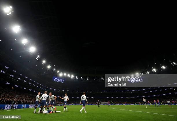 General view as Son Heungmin of Tottenham Hotspur celebrates scoring his sides first goal during the Premier League match between Tottenham Hotspur...