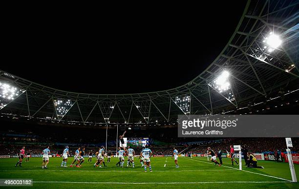 A general view as South Africa win a line out during the 2015 Rugby World Cup Bronze Final match between South Africa and Argentina at the Olympic...