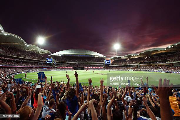 General view as spectators cheer during the Big Bash League match between the Adelaide Strikers and the Sydney Sixers at Adelaide Oval on December...