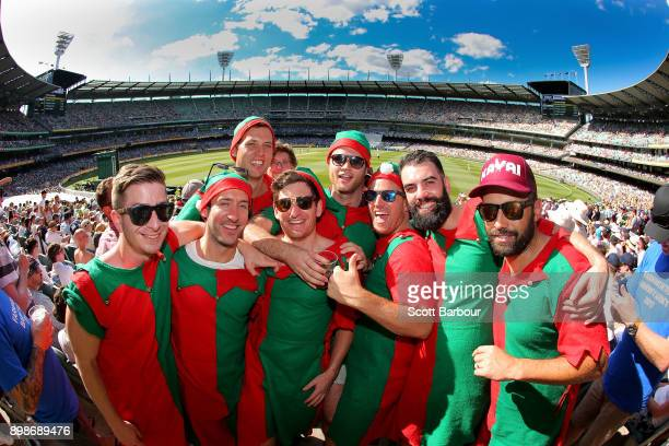 A general view as spectators dressed as Christmas Elves enjoys the atmosphere in the crowd of 88172 on Boxing Day during day one of the Fourth Test...