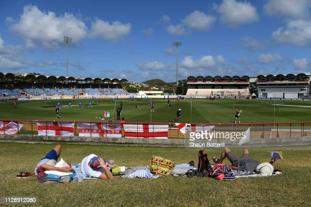 A general view as spectators enjoy the sunshine prior to the start of play during Day Three of the Third Test match between the West Indies and...