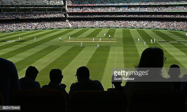 General view as spectators in the crowd watch the match during day one of the Second Test match between Australia and the West Indies at the...
