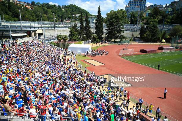 A general view as spectators look on during a Brazil training session ahead of the FIFA World Cup 2018 at YugSport Stadium on June 12 2018 in Sochi...