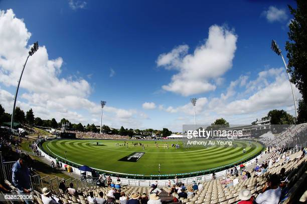 General view as spectators start to fill up the venue ahead of game three of the One Day International series between New Zealand and Australia at...