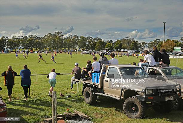 A general view as spectators watch from the back of a ute during the Yarra Valley Mountain District Football League Division 1 Seniors Preliminary...