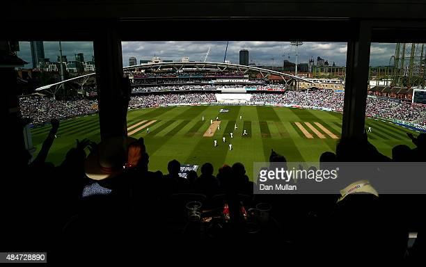 A general view as spectators watch the action during day two of the 5th Investec Ashes Test match between England and Australia at The Kia Oval on...