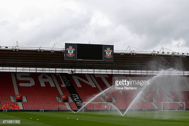 A general view as sprinklers water the pitch prior to the Barclays Premier League match between Southampton and Tottenham Hotspur at St Mary's...