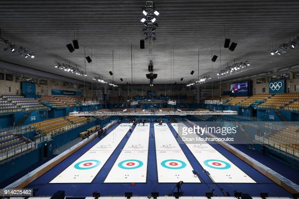 A general view as staff get the venue ready ahead of the PyeongChang 2018 Winter Olympic Games at the Gangneung Curling Centre on February 4 2018 in...