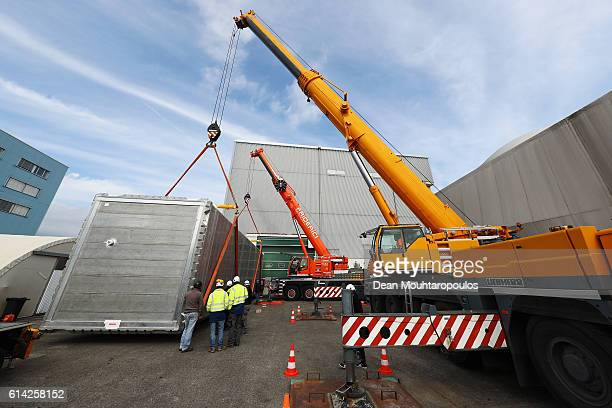 A general view as staff move the ICARUS cryostat within The European Organization for Nuclear Research commonly know as CERN on October 12 2016 in...