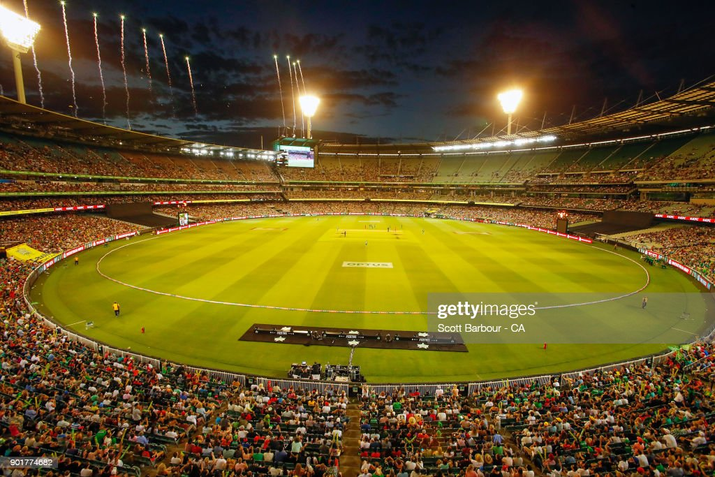 A general view as Stars fans in the crowd show their support during the Big Bash League match between the Melbourne Stars and the Melbourne Renegades at the Melbourne Cricket Ground on January 6, 2018 in Melbourne, Australia.