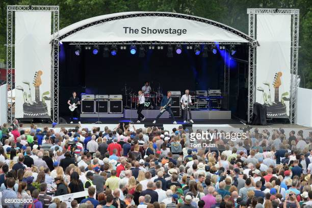 General View as Status Quo perform on stage for golf fans during day three of the BMW PGA Championship at Wentworth on May 27 2017 in Virginia Water...