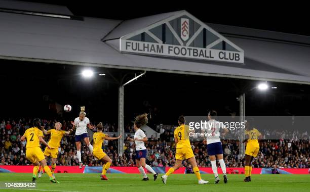General view as Steph Houghton of England goes up for the ball during the International Friendly between England Women and Australia Women at Craven...