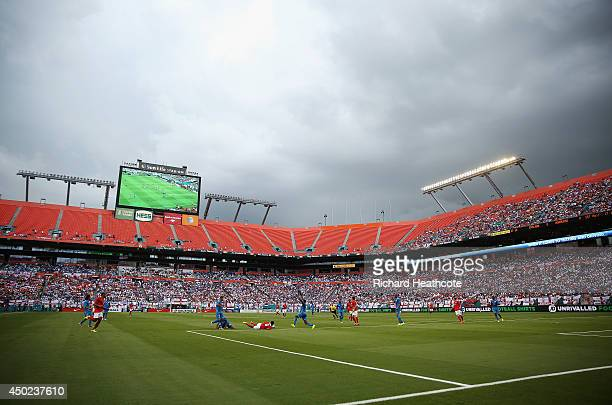 A general view as storm clouds form over the stadium during the International Friendly match between England and Honduras at Sun Life Stadium on June...