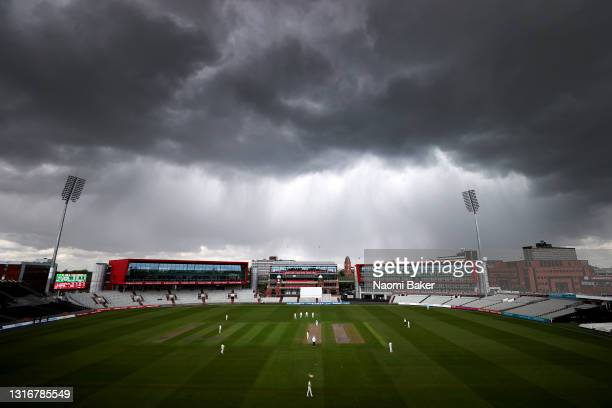 General view as stormy clouds roll in during a LV= Insurance County Championship match between Lancashire and Glamorgan at Emirates Old Trafford on...