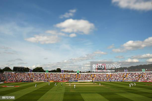 A general view as Stuart Broad of England bowls during day two of the npower 4th Ashes Test Match between England and Australia at Headingley...