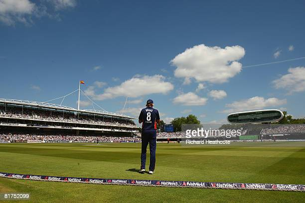 General view as Stuart Broad of England waits in the field during the Fifth NatWest Series One Day International match between England and New...