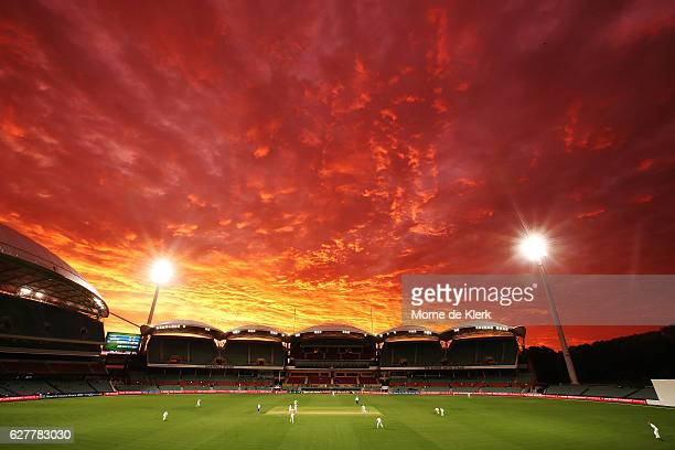 A general view as sun sets during day one of the Sheffield Shield match between South Australia and New South Wales at Adelaide Oval on December 5...