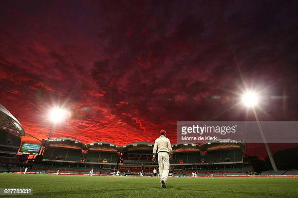 General view as sun sets during day one of the Sheffield Shield match between South Australia and New South Wales at Adelaide Oval on December 5,...
