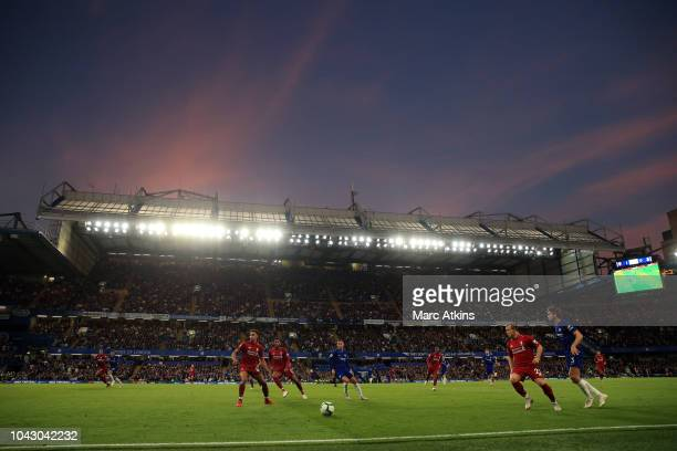 A general view as sun sets over Stamford Bridge during the Premier League match between Chelsea FC and Liverpool FC at Stamford Bridge on September...