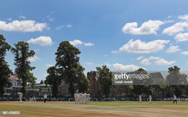 A general view as Surrey players celebrate after bowler Jade Dernbach dismisses Tom Abell of Somerset during day 3 of the Specsavers County...
