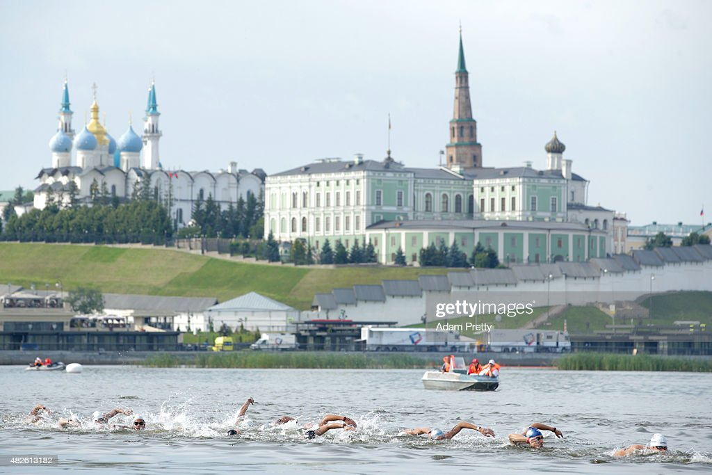 A general view as swimmers compete in the Men's 25km Open Water Swimming Final on day eight of the 16th FINA World Championships at the Kazanka River on August 1, 2015 in Kazan, Russia.