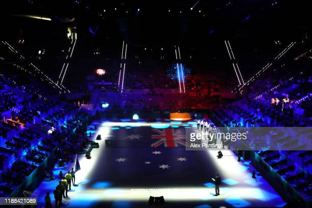 General view as Team Australia are announced to the fans during the opening ceremony ahead of Day one of the 2019 Davis Cup at La Caja Magica on...