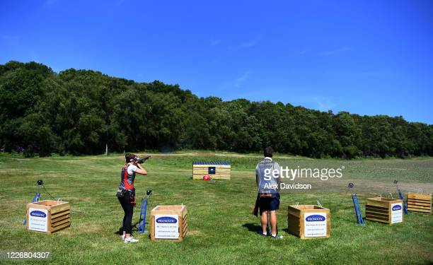 A general view as Team GB Olympic Trap Shooters Augusta CamposMartyn And Matt CowardHolley train at their home on May 24 2020 in Salisbury England