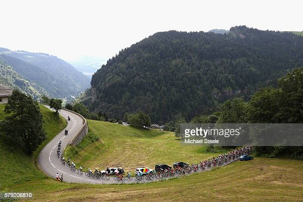A general view as Team Sky set the place during stage twenty of the 2016 Le Tour de France from Megeve to Morzine on July 23 2016 in Megeve France