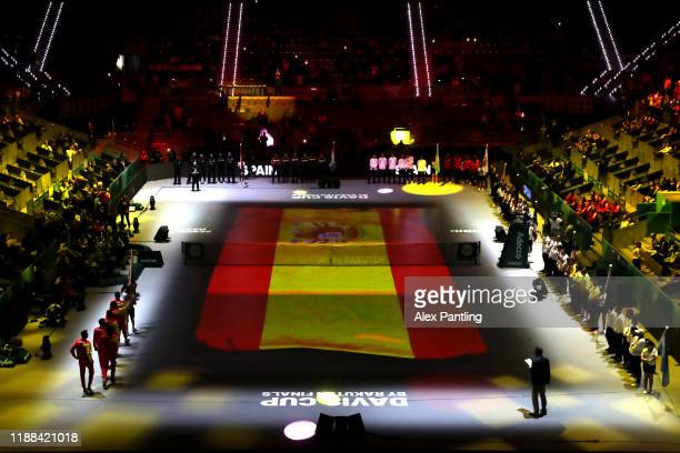A general view as Team Spain are announced to the fans during the opening ceremony ahead of Day one of the 2019 Davis Cup at La Caja Magica on...