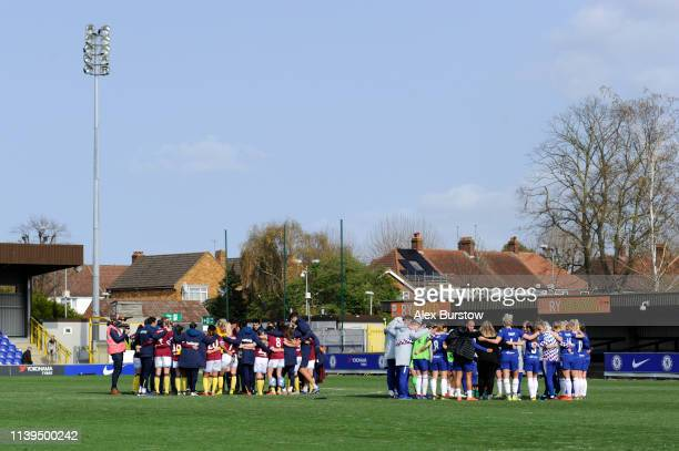 General view as teams form a huddle at fulltime of the FA Women's Super League match between Chelsea Women and West Ham United Women at Kingsmeadow...