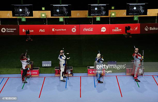 A general view as teams from Italy and Denmark compete in the Mixed Team 10m Air Rifle Final during day ten of the Baku 2015 European Games at the...