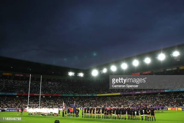 General view as teams line up prior to the Rugby World Cup 2019 SemiFinal match between England and New Zealand at International Stadium Yokohama on...