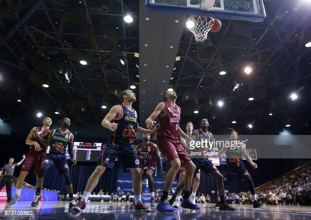 A general view as teams look to rebound during the round six NBL match between the Brisbane Bullets and the Cairns Taipans at Brisbane Convention...