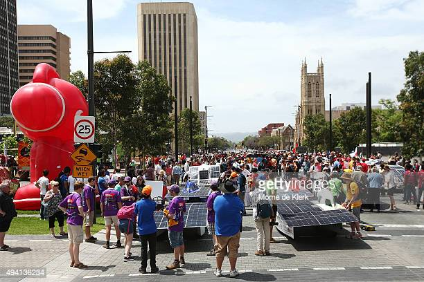 General view as teams prepare their cars for a street parade after the 2015 Bridgestone World Solar Challenge at Victoria Square on October 25, 2015...