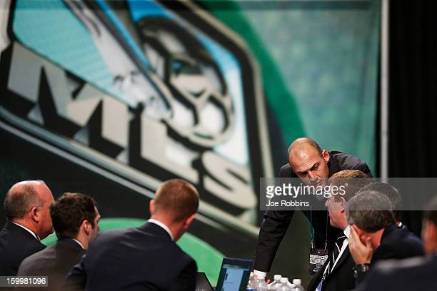 General view as teams work at their respective tables during the 2013 MLS SuperDraft Presented by Adidas at the Indiana Convention Center on January...