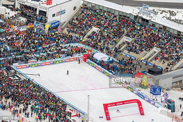 General view as Ted Ligety of The USA crosses the finish line to win the Audi FIS Ski World Cup men's giant slalom race on the Rettenbach Glacier on...